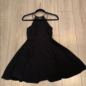 Express Halter Fit and Flare Little Black Dress